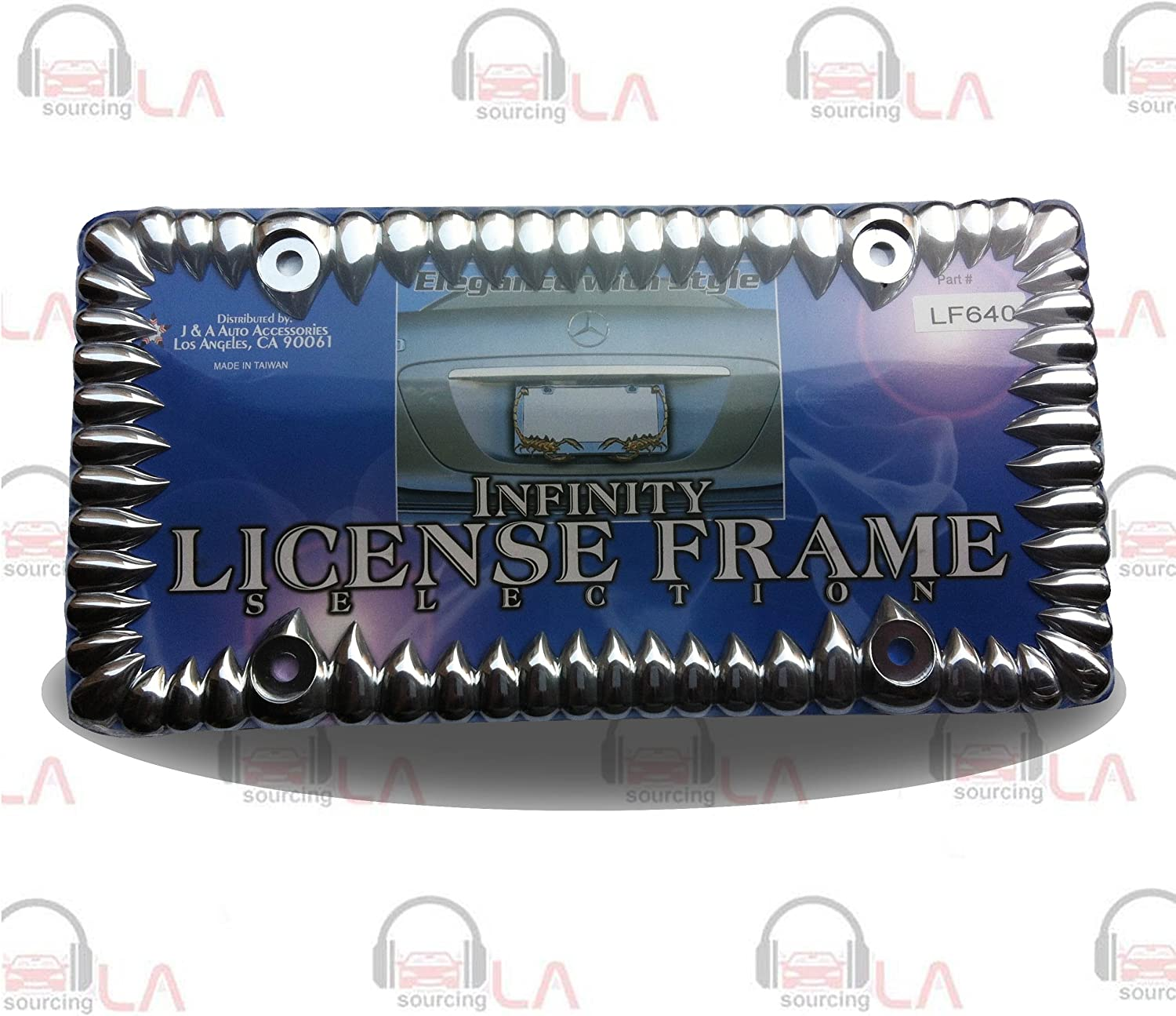 DMSE Universal Metal Shark Tooth Teeth Jaws License Plate Frame Cool Design For Any Vehicle Chrome