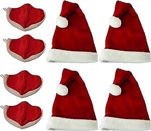 "Lulu Decor, Christmas Plush Red & White Santa hat Adult Size 19"" x 11.50"" (Santa Hat Adult 4 pc)"