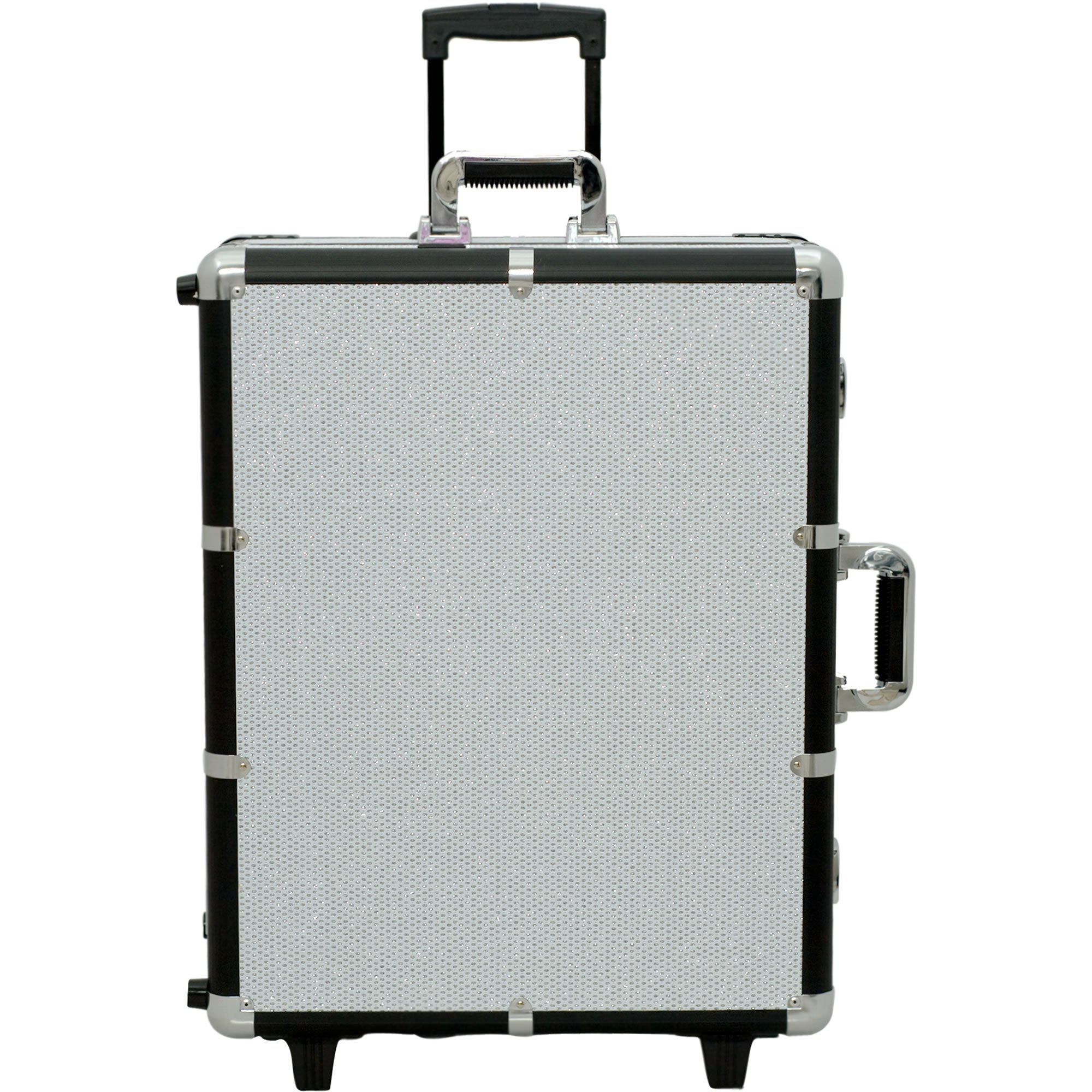 SUNRISE C6011 Lighted Makeup Case on Wheels Portable Studio, LED Bulbs, 4 Trays and 1 Brush Tray, Locking, White Krystal