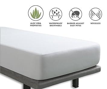 Tural - Protector de colchón Impermeable. Cubre colchon con Tratamiento Aloe Vera. Cubrecolchón para Cama Individual Transpirable. Rizo 100% Algodón.