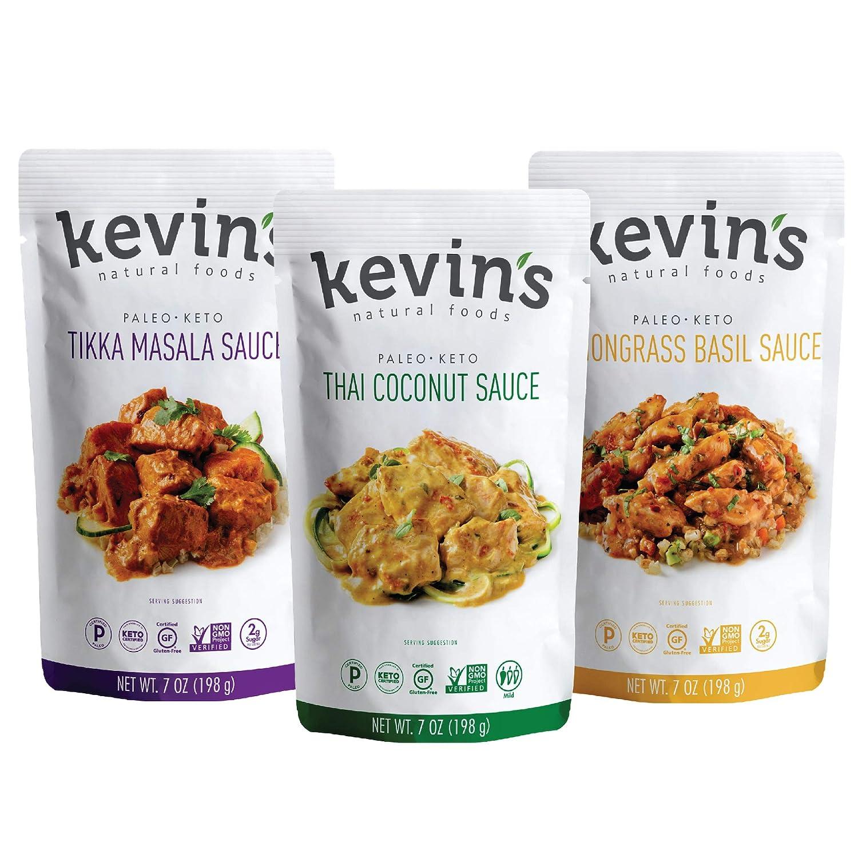 Kevin's Natural Foods Keto and Paleo Simmer Sauce Variety Pack - Stir-Fry Sauce, Gluten Free, No Preservatives, Non-GMO - 3 Pack (Tikka/ Thai Coconut/ Lemongrass Basil)