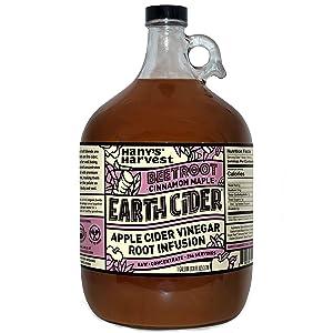 Hany's All Natural Beetroot Earth Cider with Raw Organic Apple Cider Vinegar, Beetroot, Ceylon Cinnamon, Turmeric, Ginger, chicory, Orange Peel, Grade A Maple Syrup, Lemon, Black Pepper 1 gallon