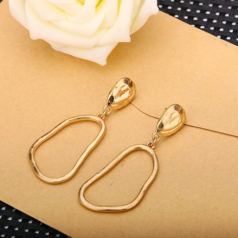 Gnzoe Gold Plated Women Stud Earrings Irregular Oval 60x21MM
