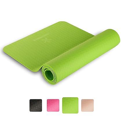 BODYMATE Esterilla para Yoga Premium TPE - Tamaño 183x61 cm - Grosor 6 mm - Análisis de Sustancias Nocivas por SGS, no Contiene Ftalatos, BPA, Metales ...