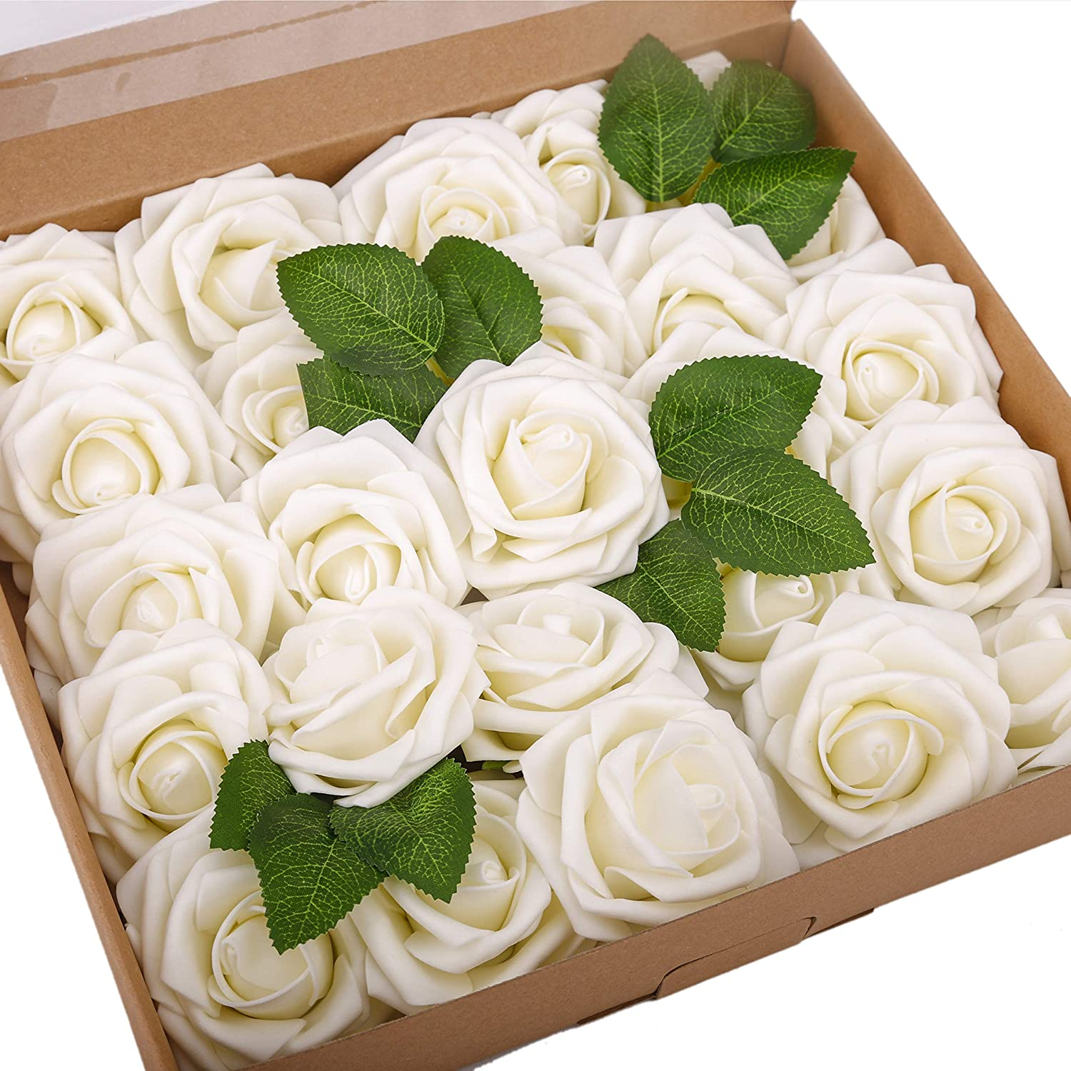 BOMAROLAN Artificial Rose Flowers Real Touch 25pcs Faux Foam Roses Fake Flower Head w/Stem, DIY Wedding Decor Bridal Bridesmaid Bouquets Centerpieces Baby Shower Party Home Decorations (Cream)