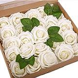 BOMAROLAN Artificial Rose Flowers Real Touch 25pcs Faux Foam Roses Fake Flower Head w/Stem, DIY Wedding Decor Bridal…