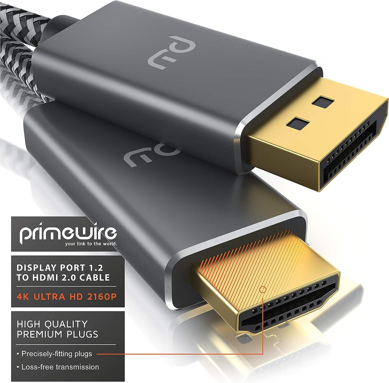 Primewire Contactos Dorados 3m Adaptador DP a HDMI con protecci/ón contra Arrugas UHD 3840 x 2160 @ 60 Hz Monitor TV Laptop PC Tarjeta de Video Cable Displayport a HDMI 4K est/ándar 2.0