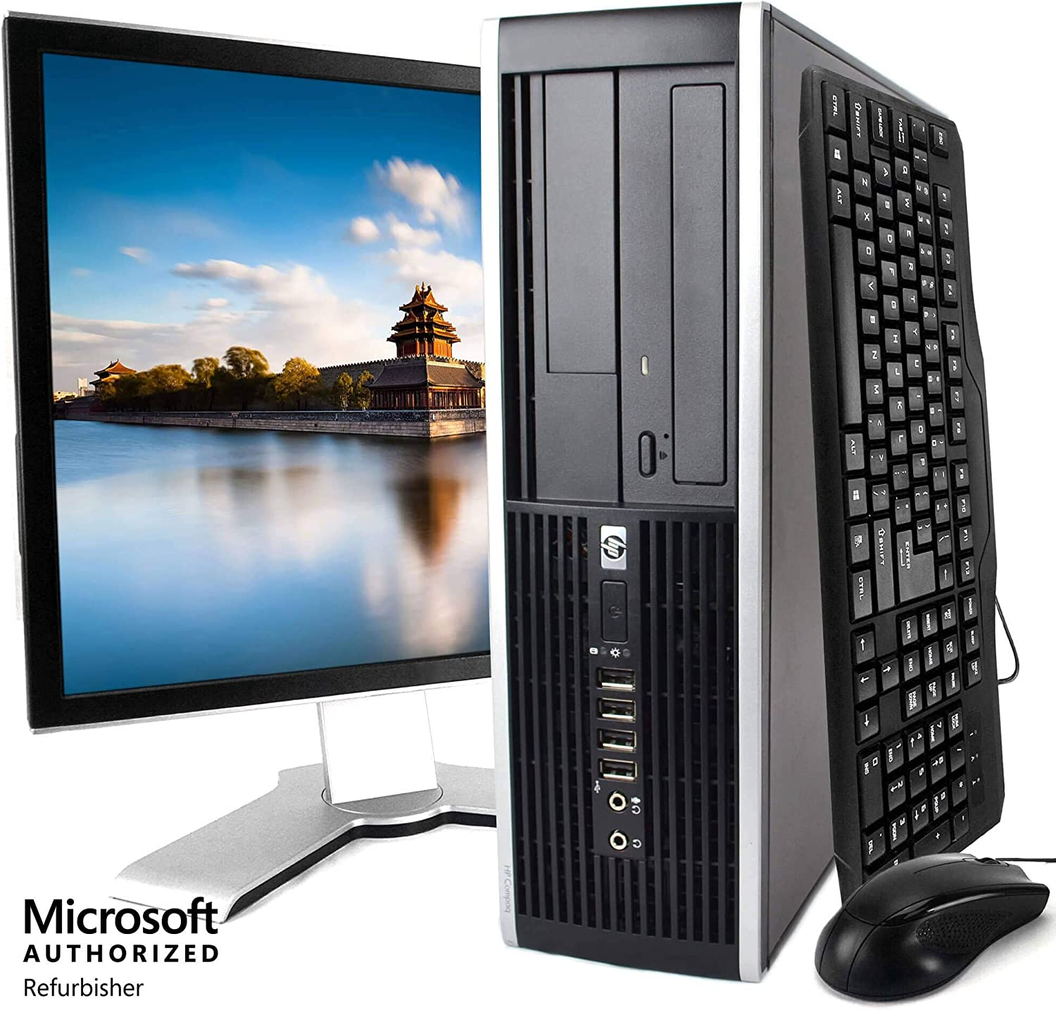 HP Elite Desktop PC Package, Intel Core 2 Duo Processor, 8GB RAM, 500GB Hard Drive, DVD, Wi-Fi, Windows 10, 19in LCD Monitor (Renewed)