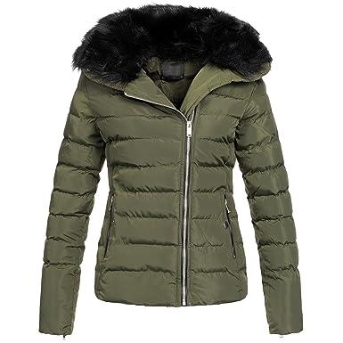AZ Fashion Damen Winterjacke Parka Steppjacke Jacke asymetrisch S XXL AZ30