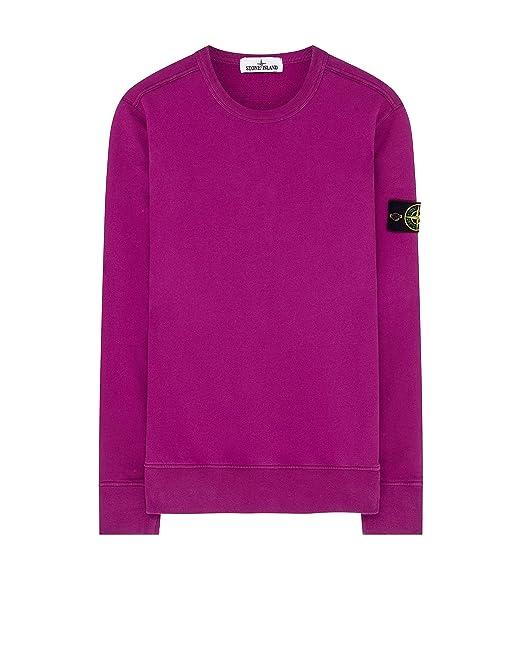 separation shoes 99a17 2ead6 Stone Island Crew Neck Badge Logo Sweatshirt Fucsia Pink ...