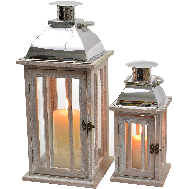 INtrenDU® Set di 2 Lanterne shabby chic da interno in legno, metallo e vetro 46cm & 31cm INtrenDU®