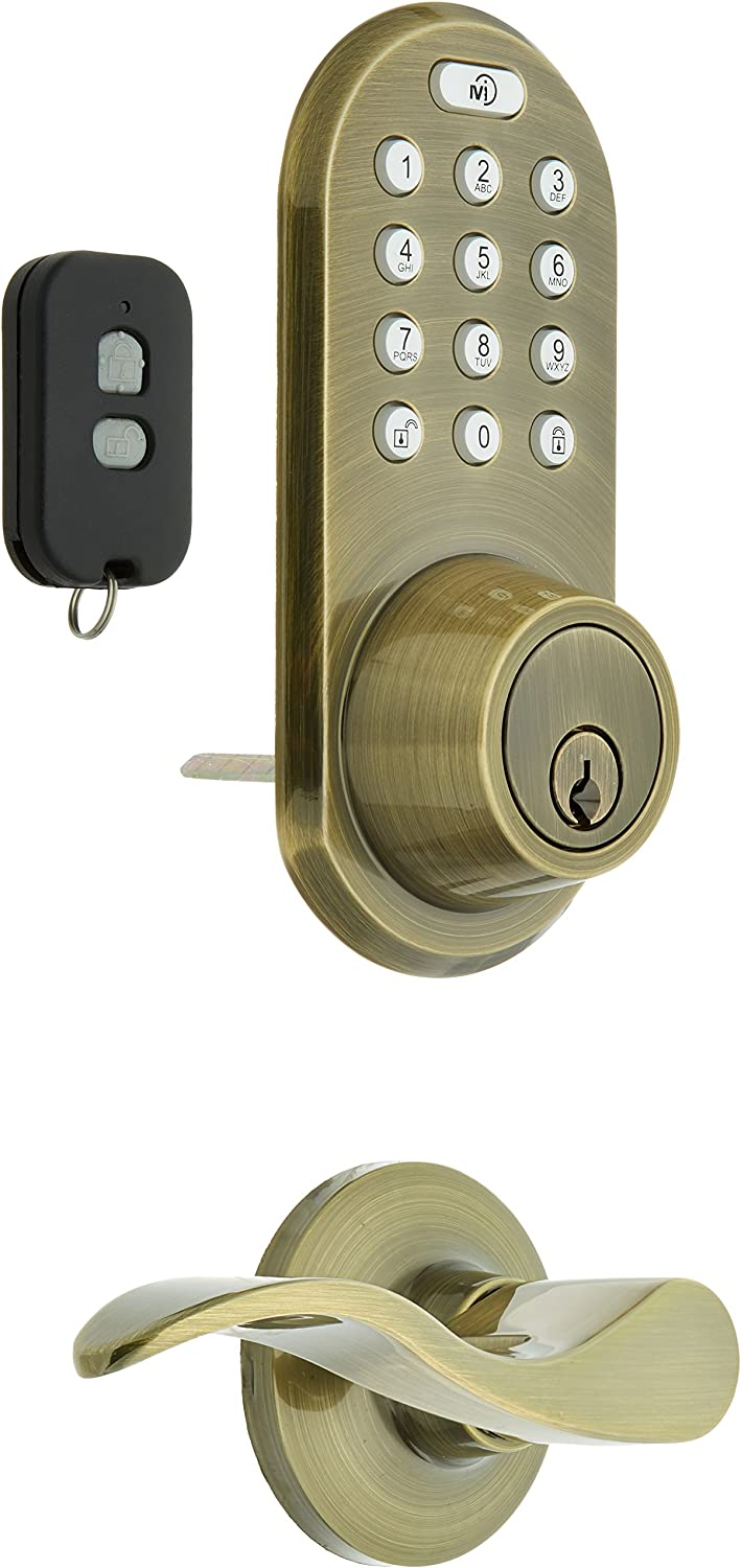 MiLocks XFL-02AQ Digital Deadbolt Door Lock and Passage Lever Handle Combo with Keyless Entry via Remote Control and Keypad Code for Exterior Doors, Antique Brass
