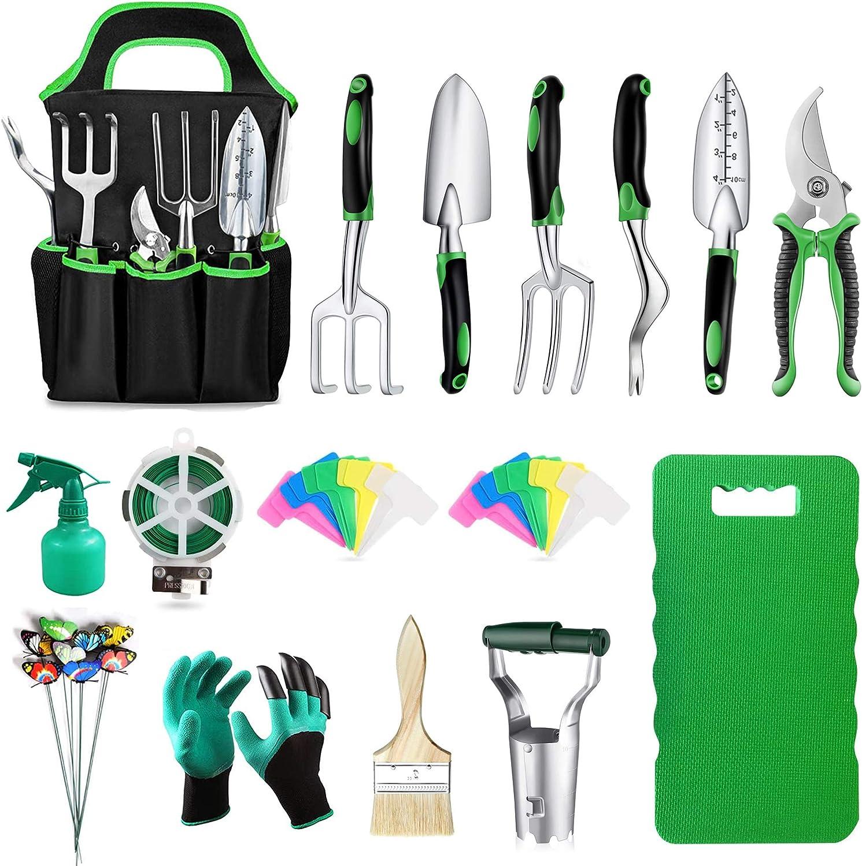 Garden Tool Set with Kneeling Pad - Heavy Duty Gardening Kit, Gardening Hand Tools with Non-Slip Handle, Durable Storage Tote Bag, Bulb Transplanter, Gardening Gifts for Women Men.