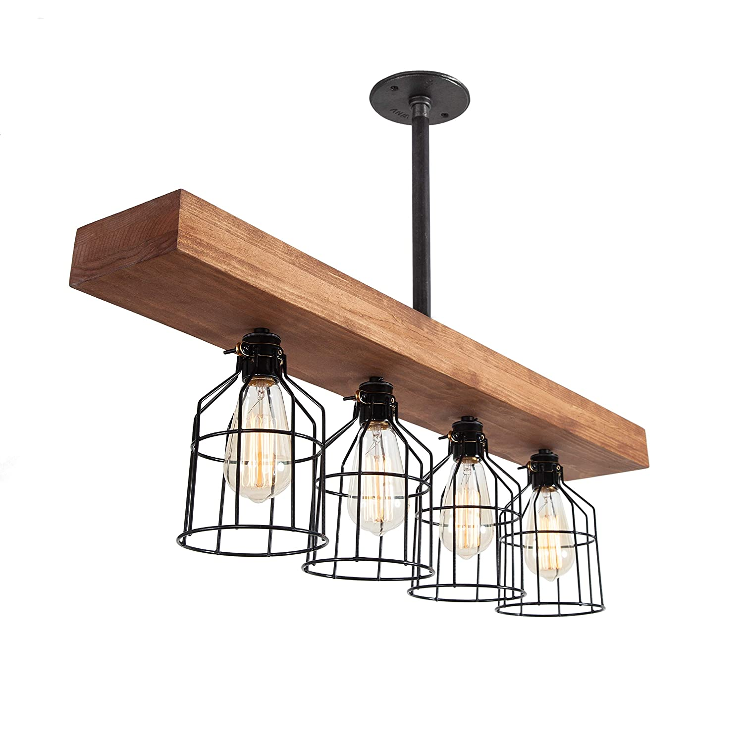 West Ninth Vintage Pendant Farmhouse Chandelier Fixture – Fayette Triple Wood Beam Light – Rustic Lighting for Kitchen Island Lighting, Dining Room, Bar – Wooden Vintage Light with Edison Cages