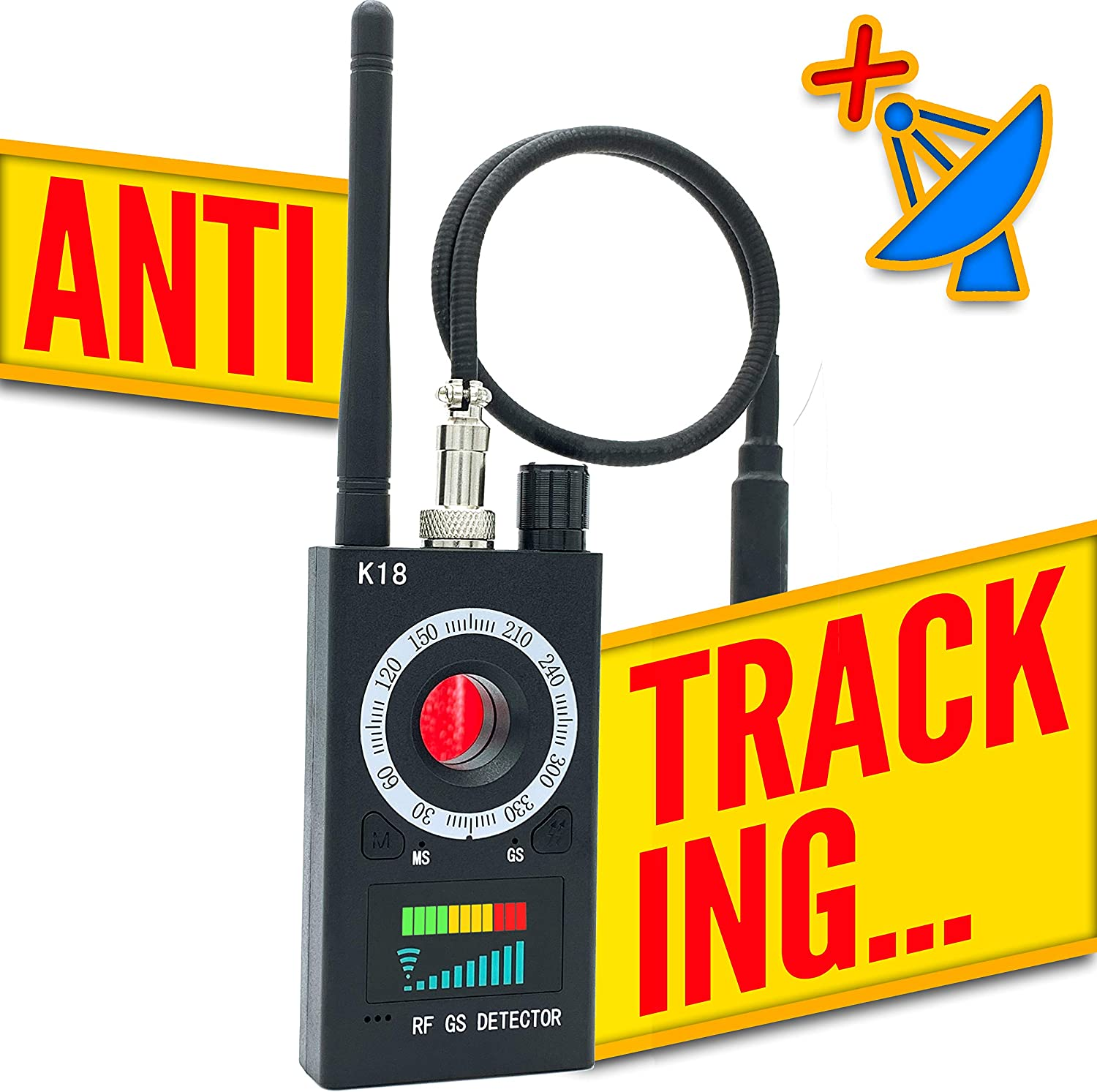 Anti Spy RF Detector Wireless Camera Finder and Bug Tracker with GPS Signal Detector and Portable Radio Scanner for Eavesdropping Devices