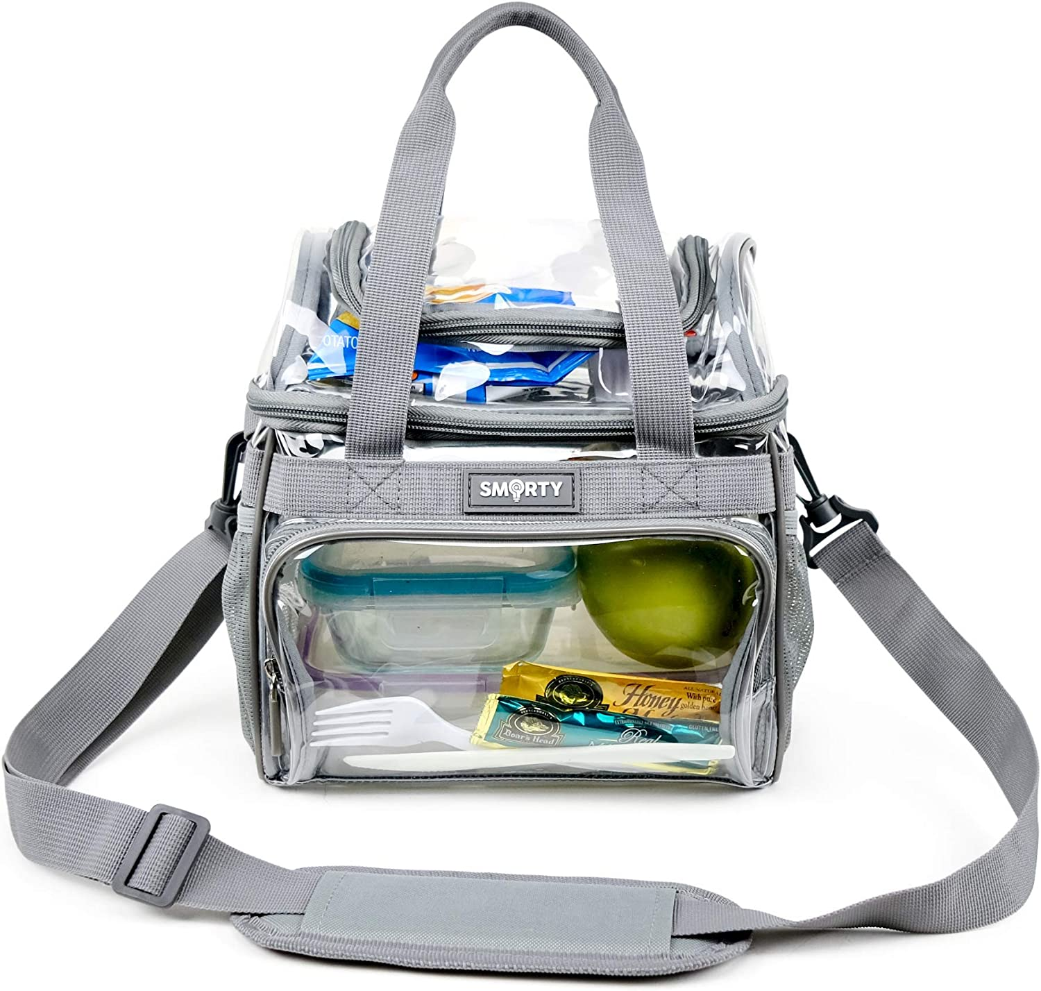 Medium Heavy Duty Clear Lunch Tote Stadium Bag Event Approved Diaper Travel Makeup Cosmetic Bag for NFL Football NCAA Basketball PGA NASCAR Concerts Correctional Officers (Gray, 10 x 9.5 x 6)