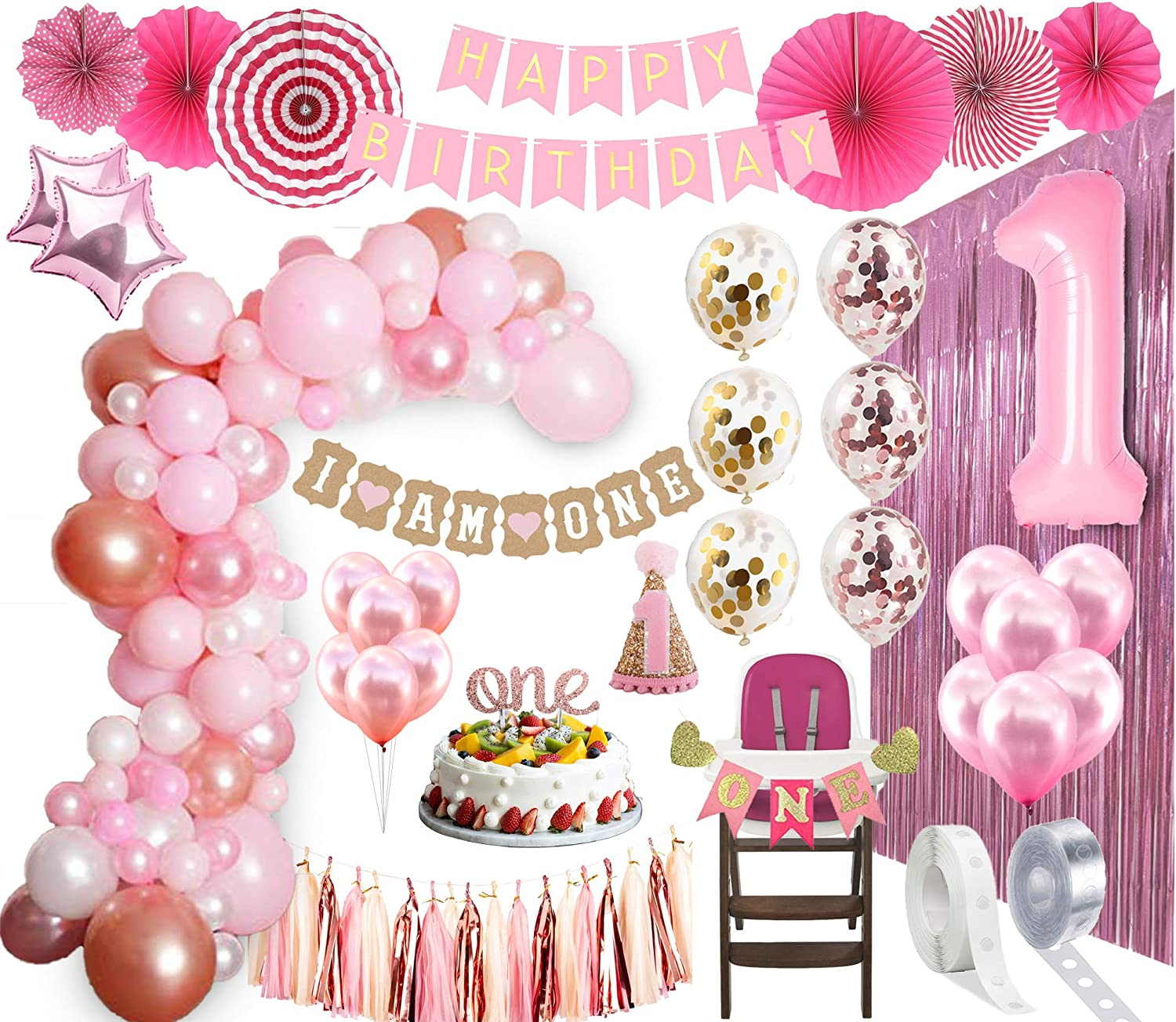 Amazon Com 1st Birthday Girl Decorations Balloon Arch Kit 1st Birthday Party Supplies Rose Gold Party Decorations Rose Gold Confetti Balloons Happy First Bday Princess Decorations First Birthday