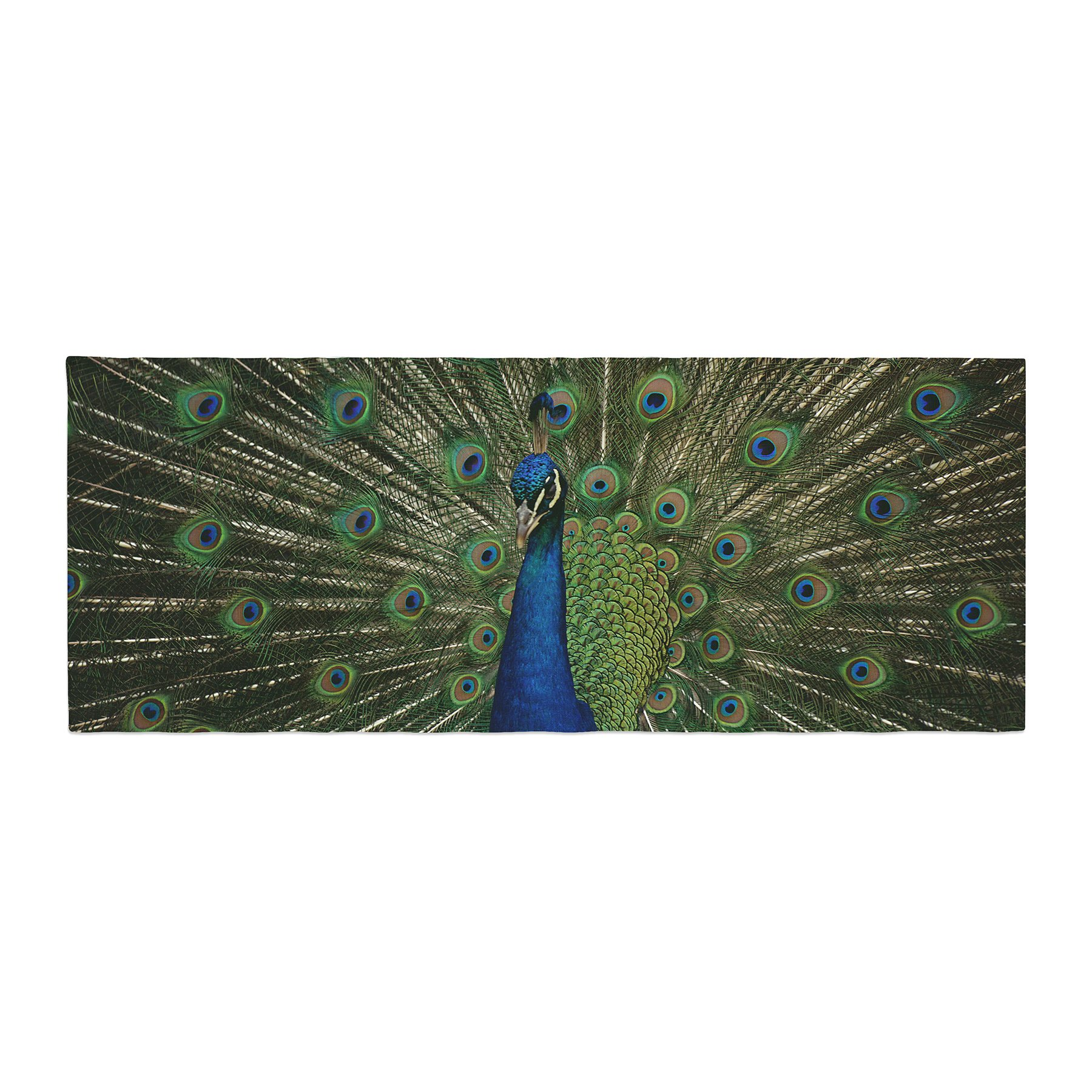 Kess InHouse Angie Turner Proud Peacock Blue Animals Bed Runner, 34'' x 86''