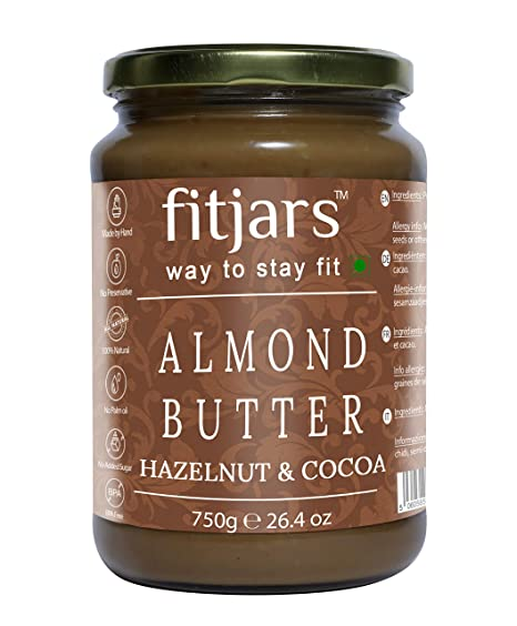 FITJARS Diwali Specials Stone Ground Keto Vegan All Natural Gourmet Almond Butter with Hazelnut & Cocoa , 750g?.