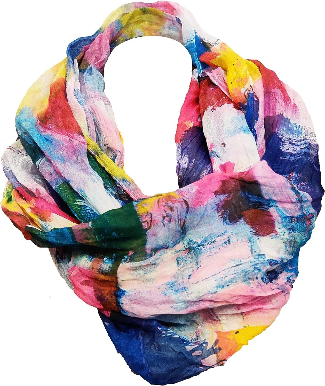 JameStyle26 Farbverlauf Seide Sommer Loop Verlauf Regenbogen Rainbow Silk Uni Rundschal Schlauchschal Stola Schal leicht