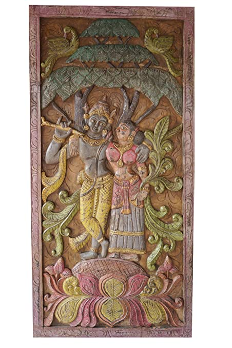 Amazon.com: Vintage Barn Door Hand Carved Krishna Radha Carving Wall ...