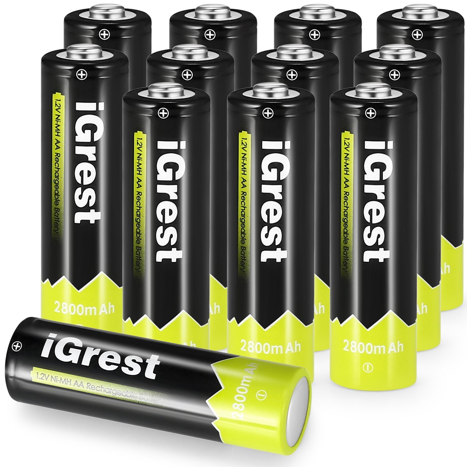 iGrest Rechargeable AA Batteries 2800mah Nimh Battery (12 pack)
