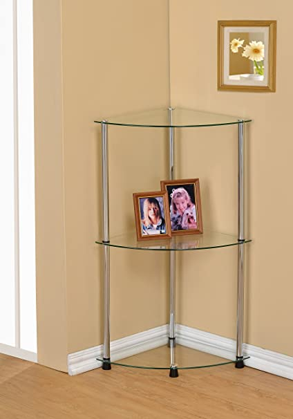 3 Tier Glass Corner Accent Table Shelf, Clear Glass
