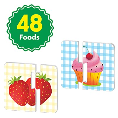 48 Food Matching Puzzles Double Sided Correcting Food Themed Image Matching Puzzles: Toys & Games