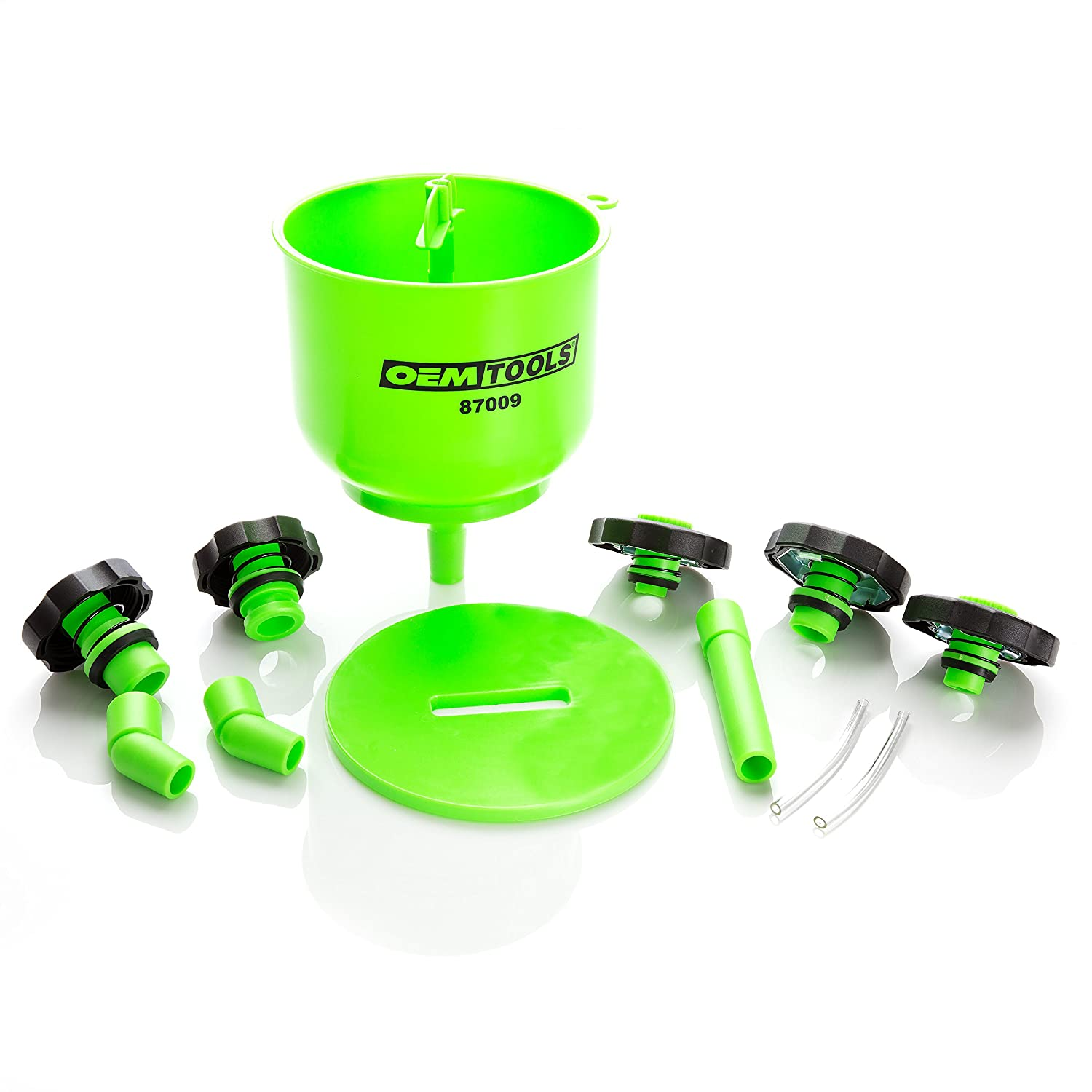 OEMTOOLS 87009 No-Spill Coolant Filling Plastic Funnel Kit Green GREAT NECK