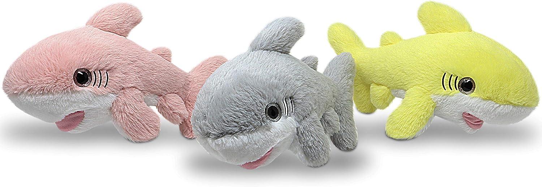 Fluffuns Stuffed Shark Plush Animal - 3-Pack of Baby Shark Stuffed Animal Plush Toys in 3 Colors - 12 Inch Length (Pink, Yellow & Gray)