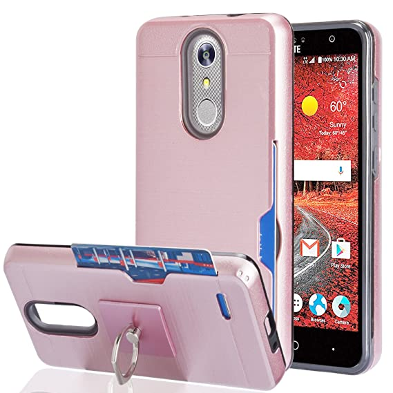 competitive price 4bf2d b22ea ZTE Grand X 4/ZTE Blade Spark/Grand X4 Case With Phone Stand,Ymhxcy [Credit  Card Slots Holder][Metal Brushed Texture] Dual Layer Shockproof Protective  ...
