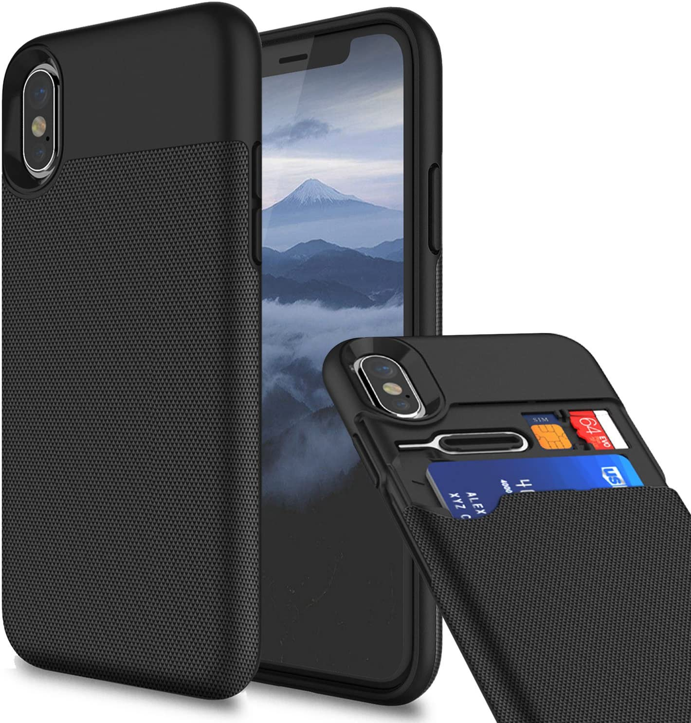 KHOMO - iPhone X Case, iPhone X Wallet Case Shockproof Protective Case Cover with Credit Card Slots Holder for Apple iPhone X - Black