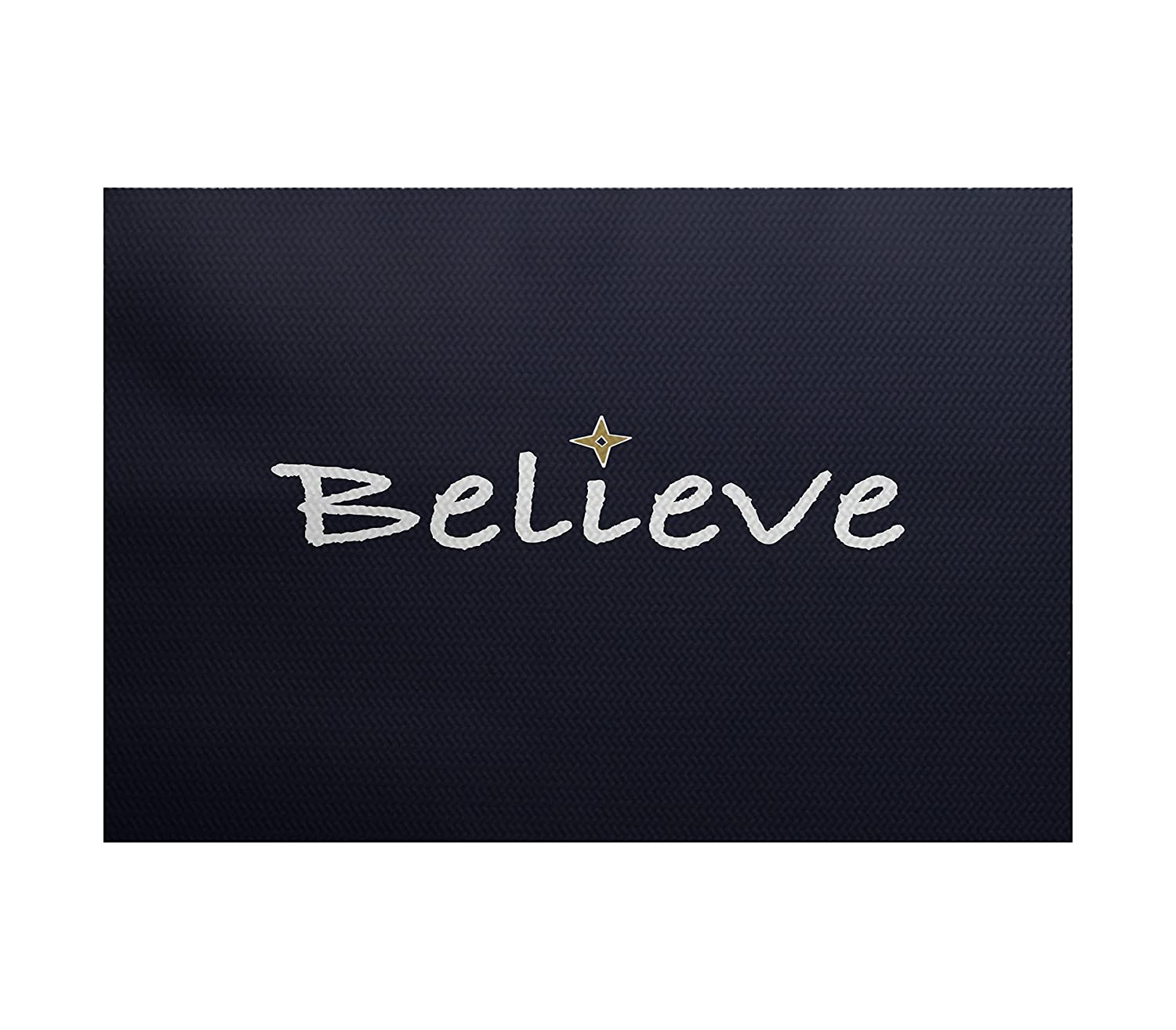 Blue E by design RWHN523BL14-23 Believe 2 x 3 Word Print Indoor//Outdoor Rug