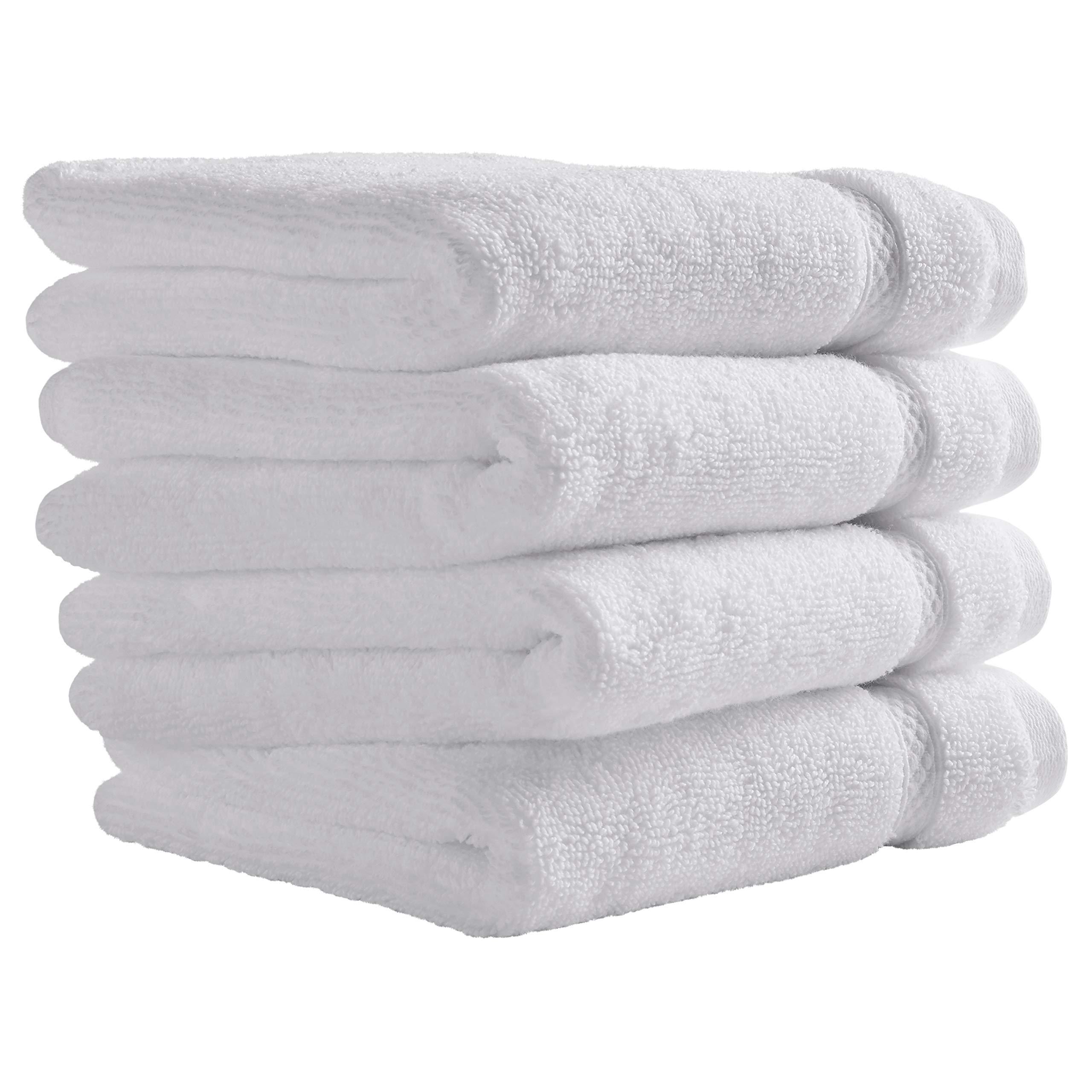 Stone & Beam Heavyweight Turkish Cotton Washcloth Set, Set of 4, White