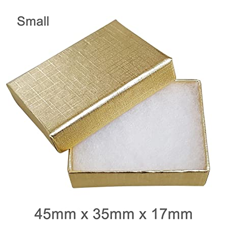 690c731ab Silvadore - Jewellery Gift Box - BLACK WHITE GOLD SILVER Cardboard Box -  Cotton Fluff Padding - Universal Jewelry Box (Small (45x35x17mm), ...