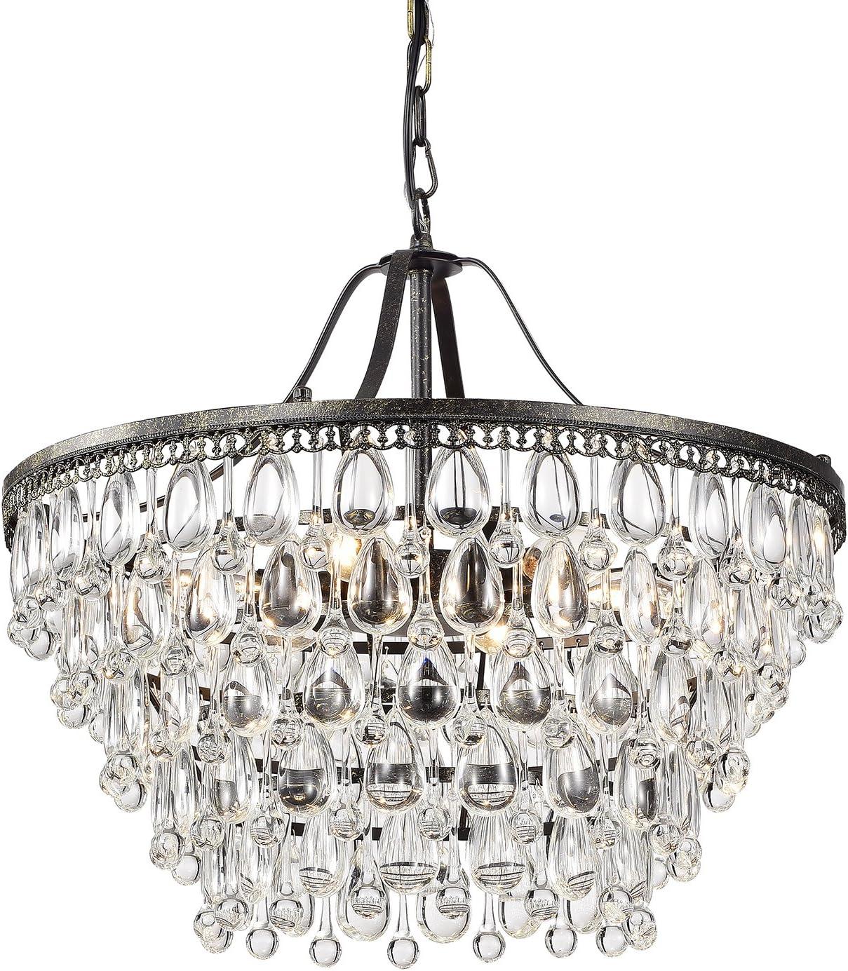 Edvivi 6-Light Antique Bronze Chandelier with Crystals Glam Lighting