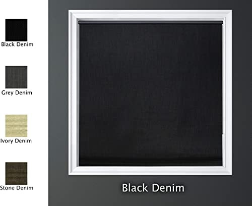 Luxr Blinds Custom-Made Modern Denim 100 Blackout Roller Window Shades Denim Blackout Window Roller Shades Indoor, Outdoor Size 57 W X 60 L Black Denim Color