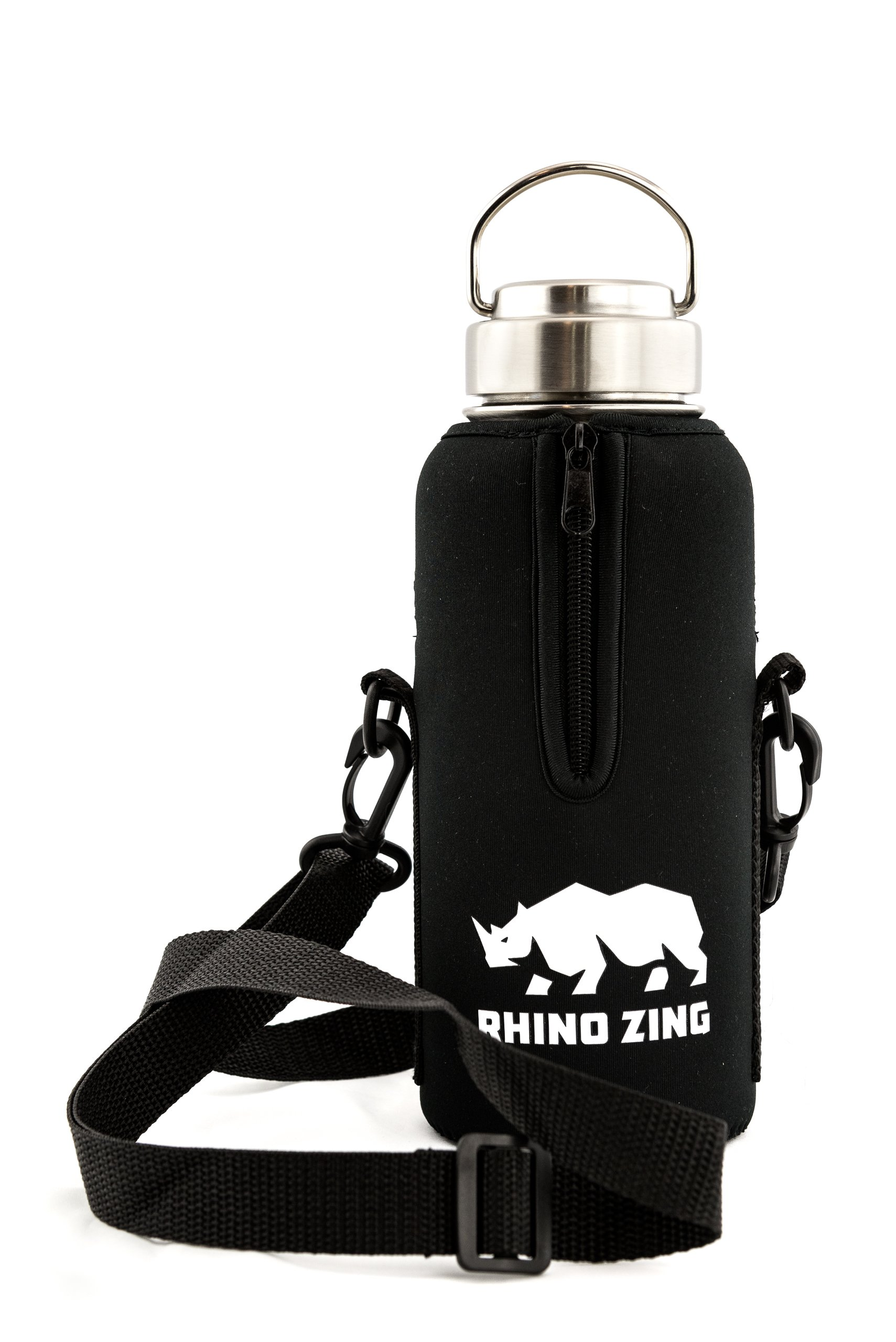 Rhino Zing 32-Ounce Beer Growler Stainless Steel Water Bottle, Sleeve/Pouch and Stainless Steel Lid. Insulated, Wide Mouth