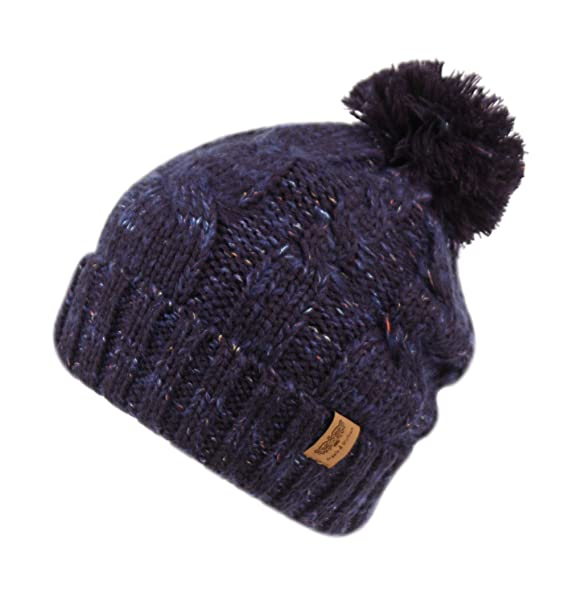 709516637db ANGELA   WILLIAM Women s Knit Beanie with Pom Pom and Sherpa Lining (A Mix  Navy