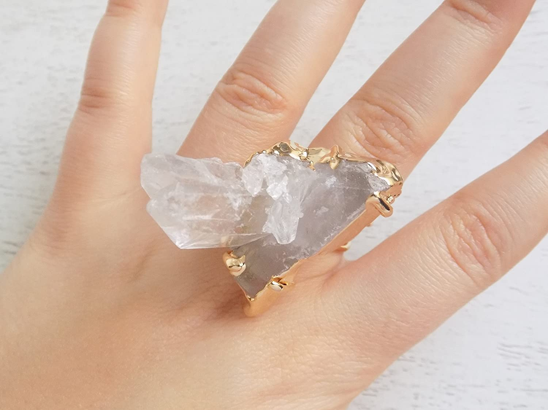 Raw Quartz Crystal Point Adjustable Ring