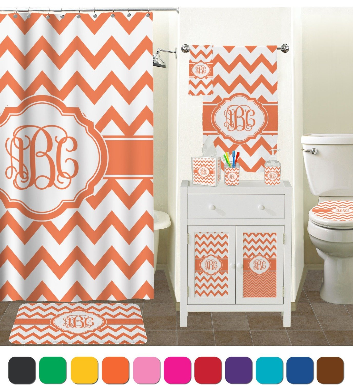 chevron bathroom set. Amazon com  Chevron Bathroom Accessories Set Personalized Home Kitchen