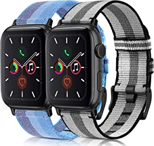 [2 Pack] Woven Bands Compatible for Apple Watch Band 38mm 40mm 42mm 44mm, Soft Woven Fabric Replacement Band Compatible for iWatch Series 6 5 4 3 2 1 (Lake Blue,Gray with Black, 38mm/40mm)