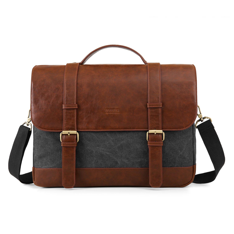 ECOSUSI 15.6 inch Laptop Messenger Bag Vintage Briefcase Computer Satchel Shoulder Bag with Multiple Compartments for Men and Women, Grey