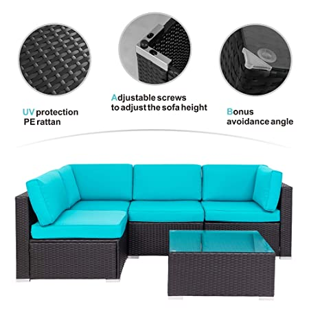 Walsunny Outdoor Black Rattan Sectional Sofa- Patio Wicker Furniture Set Conversation Sets with Tea Table Washable Couch Cushions Blue
