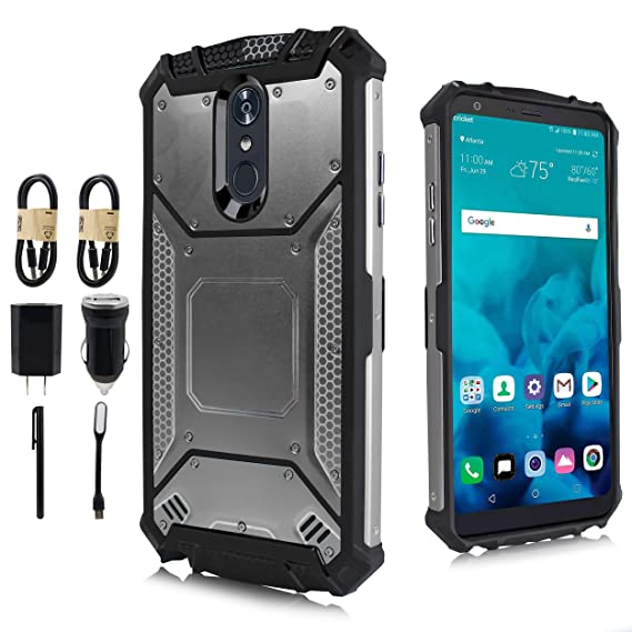 watch b7d5e 4baf9 LG Stylo 4 Case, LG Q Stylo Case, Feather Light Aluminum Metal Rugged  Cover, Composite Case for LG Stylo 4 Plus/LG Stylus 4 [Value Bundle] (Gray)