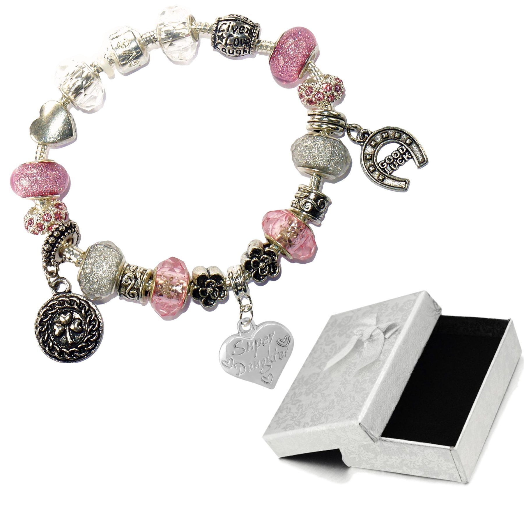 Charm Buddy Super Daughter Pink Silver Crystal Good Luck Pandora Style Bracelet With Charms Gift Box