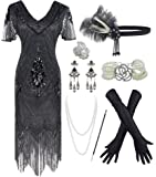 IWIWB 1920s Sequin Vintage Dress Beaded Gatsby Flapper Dress with Accessories Set