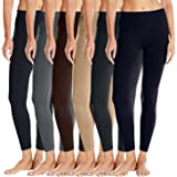 Real Essentials 6 Pack: Women's Basic Leggings - One Size - Black,Charcoal,Brown,Navy,Beige,Light Gray