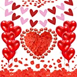 Litviz Valentine's Day Decoration Set 50 Red Candles 1000 Artificial Rose Petals Love Heart Foil Balloon Glitter Banner for W