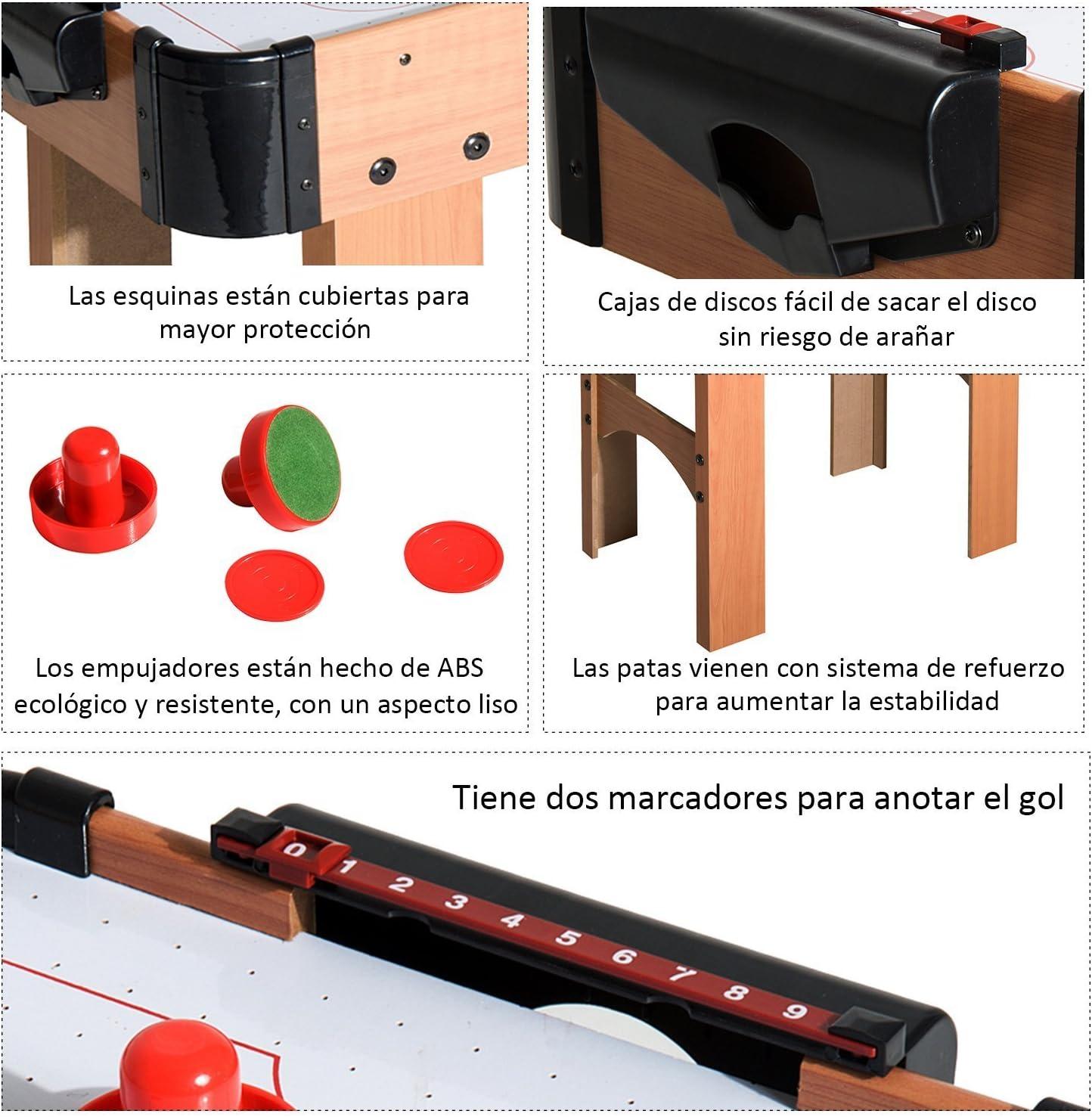 HOMCOM Air Hockey Juego de Mesa de Madera con Ventilador 2 Discos y 2 Empujadores 74.5x36.5x64.5cm: Amazon.es: Juguetes y juegos